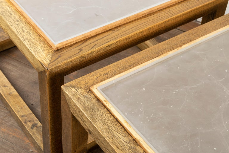 French Pair of Square End Tables, France, 1970s For Sale
