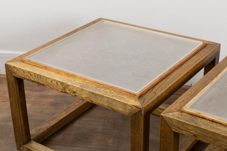 Gilt Pair of Square End Tables, France, 1970s For Sale