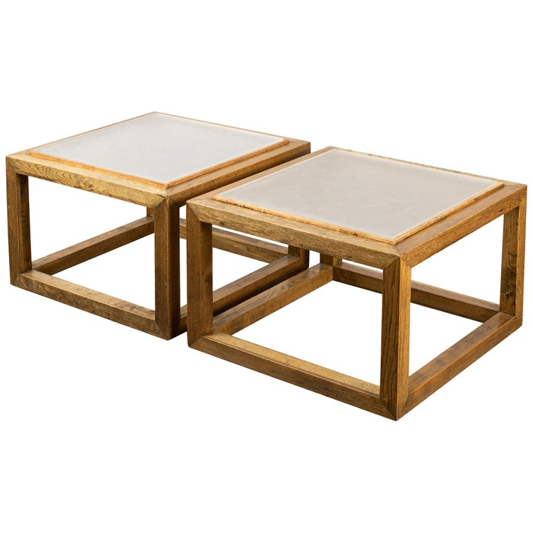 Pair of Square End Tables, France, 1970s For Sale