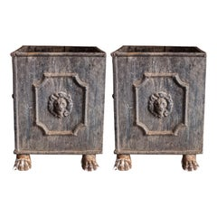Pair of Square English Lead Lion Planters with Lion Feet