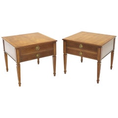 Pair of Square Fruitwood End lamp Tables with Brass Pulls by Henredon