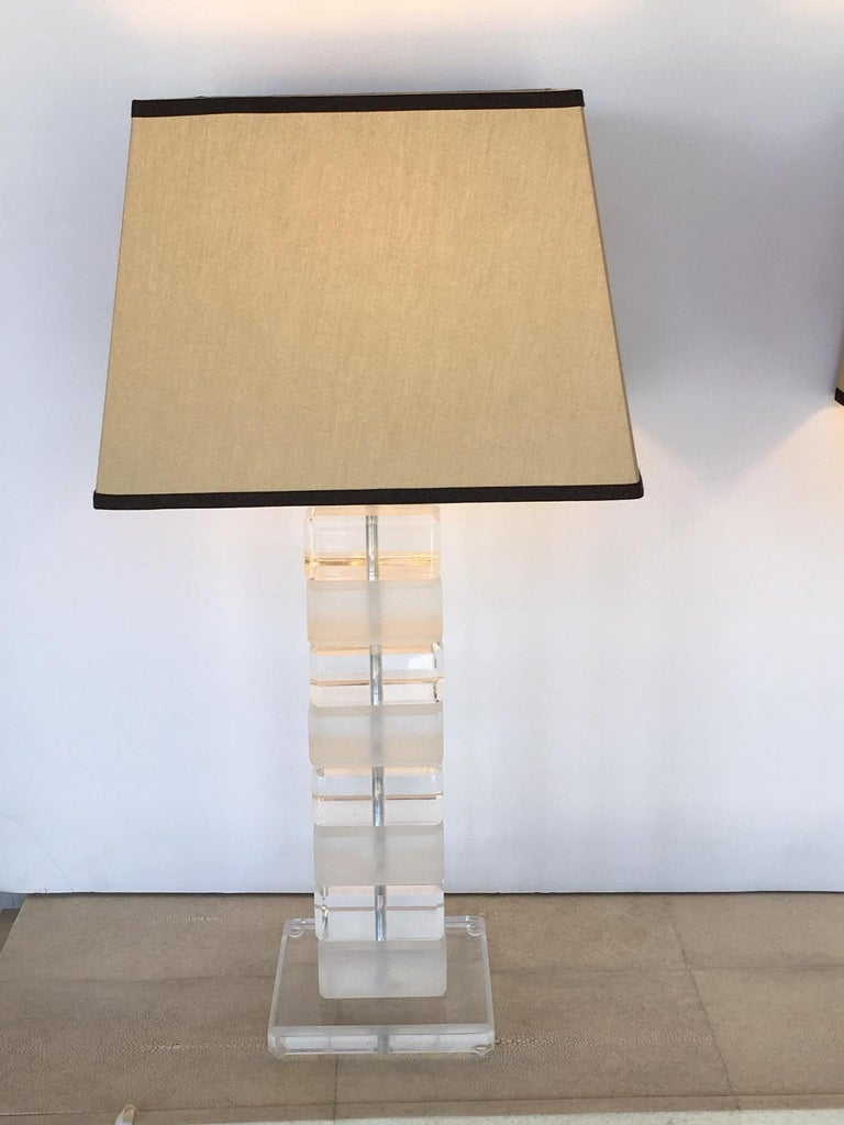 Pair of square Lucite table lamps, U.S.A, 1980s.