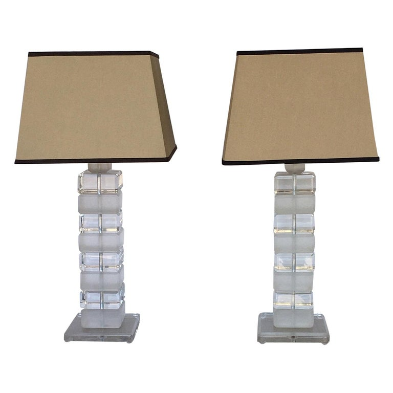 Pair of Square Lucite Table Lamps For Sale