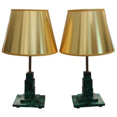 Pair of Square Malachite Table Lamps with Gold Shades