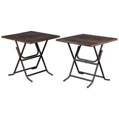 Pair of Square Metal Folding Tables Tubular Metal Legs Found in Asia