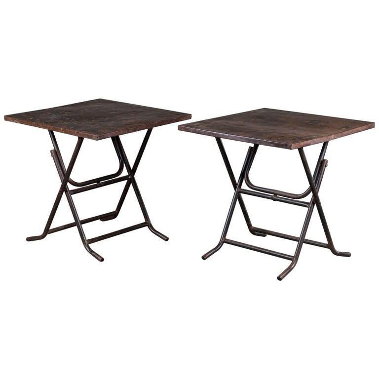 Pair of Square Metal Folding Tables Tubular Metal Legs Found in Asia For Sale