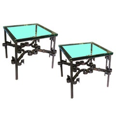 Pair of Square Mid-20th Century Iron Side Tables with Glass Tops