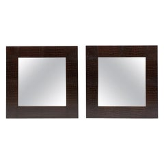 Pair of Square Mirrors with dark brown Crocodile surrounds