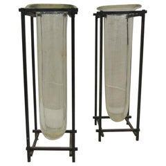 Pair of Square Modern Iron and Glass Vases