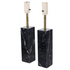 Pair of Square Pedestal Shape Black Marble and Brass Table Lamps
