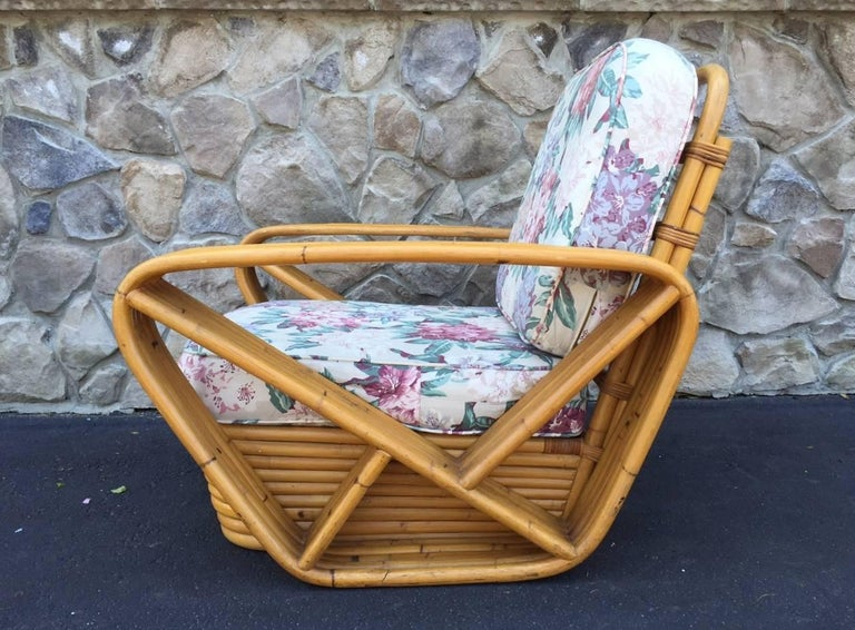 Mid-Century Modern Pair of Square Pretzel Rattan Lounge Chairs Style of Paul Frankl For Sale