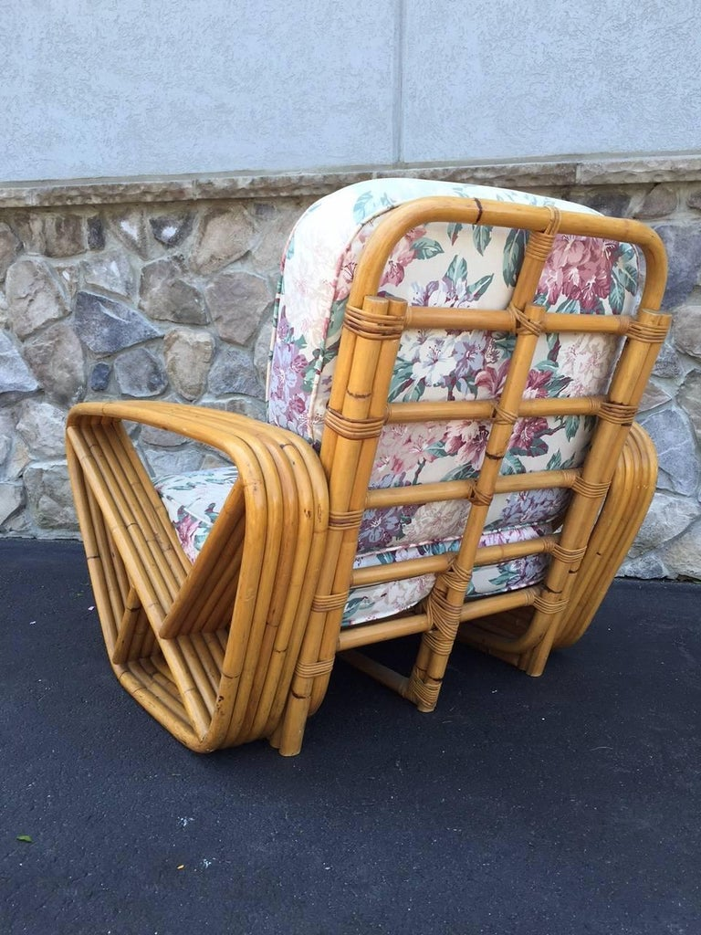 Pair of Square Pretzel Rattan Lounge Chairs Style of Paul Frankl In Good Condition For Sale In New York, NY