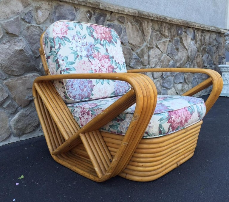 Pair of Square Pretzel Rattan Lounge Chairs Style of Paul Frankl For Sale 1