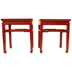Pair of Square Red Lacquer End Tables