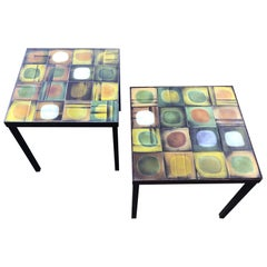 "Pair of Square Roger Capron ""Planete"" Tables"