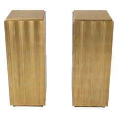 Pair of Square Scallop Edge Gold Gilt Columns Pedestals