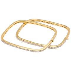 Pair of Square-Shape Diamond Bangle Bracelets