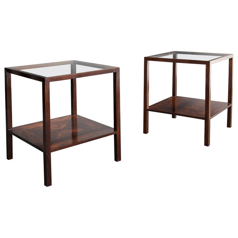 Pair of Square Side Tables by Joaquim Tenreiro For Sale
