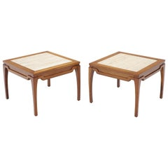 Pair of Square Small End Tables Stands with Marble Tops