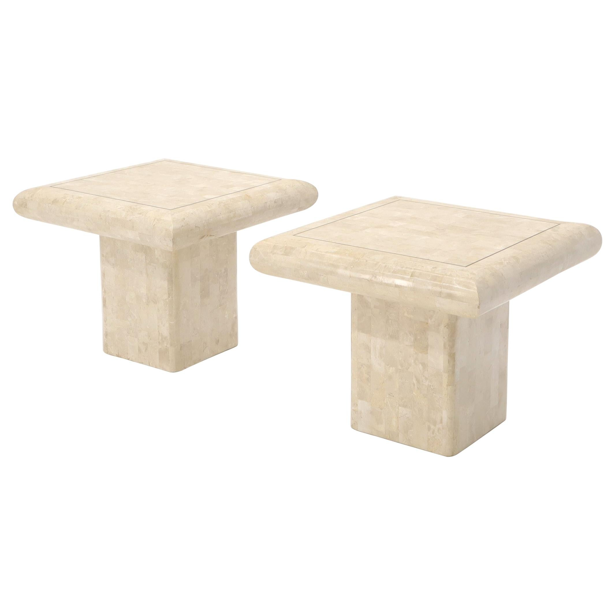 Pair of Square Tessellated Stone Veneer Brass Inlay End Tables Stands