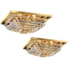 Pair of Square Triedi Murano Glass Contemporary Flush Mount or Ceiling Light