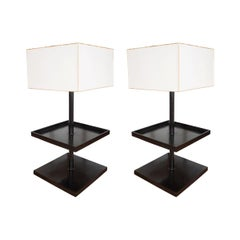 Pair of Square Two-Tier Bronze Tables with Lamps