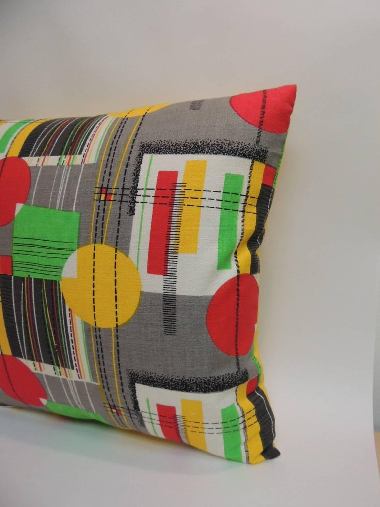 Pair of square vintage Barkcloth textile with contemporary pattern throw pillows Pair of hand-screened Barkcloth contemporary throw pillows depicting a geometric motif. Decorative square pillows contemporary pattern in shades of gray, red, yellow,
