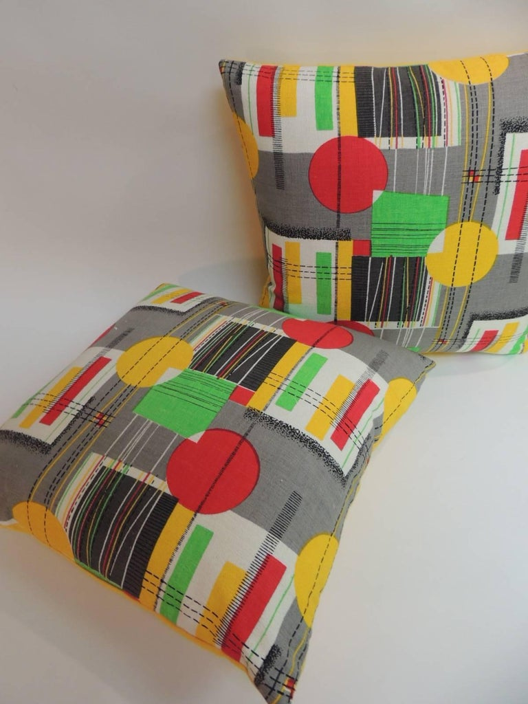 Mid-Century Modern Pair of Square Vintage Barkcloth Textile with Contemporary Pattern Throw Pillows For Sale