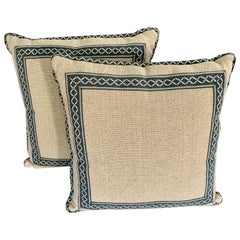 Pair of Square Woven Pillows with Custom Trim and Edging