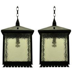 Pair of Square Wrought Iron Lanterns