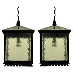 Pair of Square Wrought Iron Lanterns