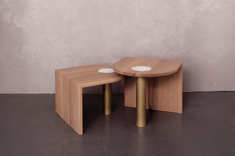 """As Shown: Cerused white oak with inlaid marble and brass-plated steel leg Dimensions: 17"""" H x 20"""" W x 20"""" D / 14"""