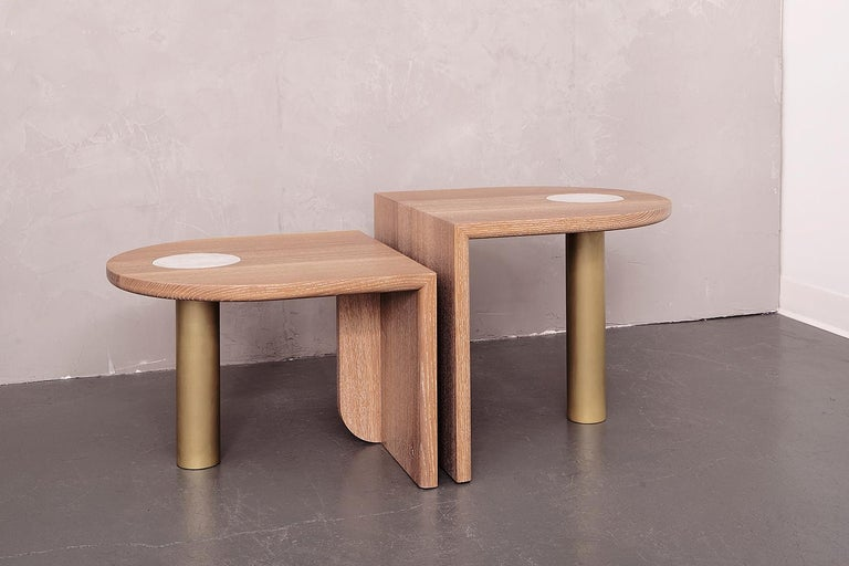 Modern Pair of St. Charles Occasional Tables, Offset Heights, by VOLK -- ON SALE!! For Sale