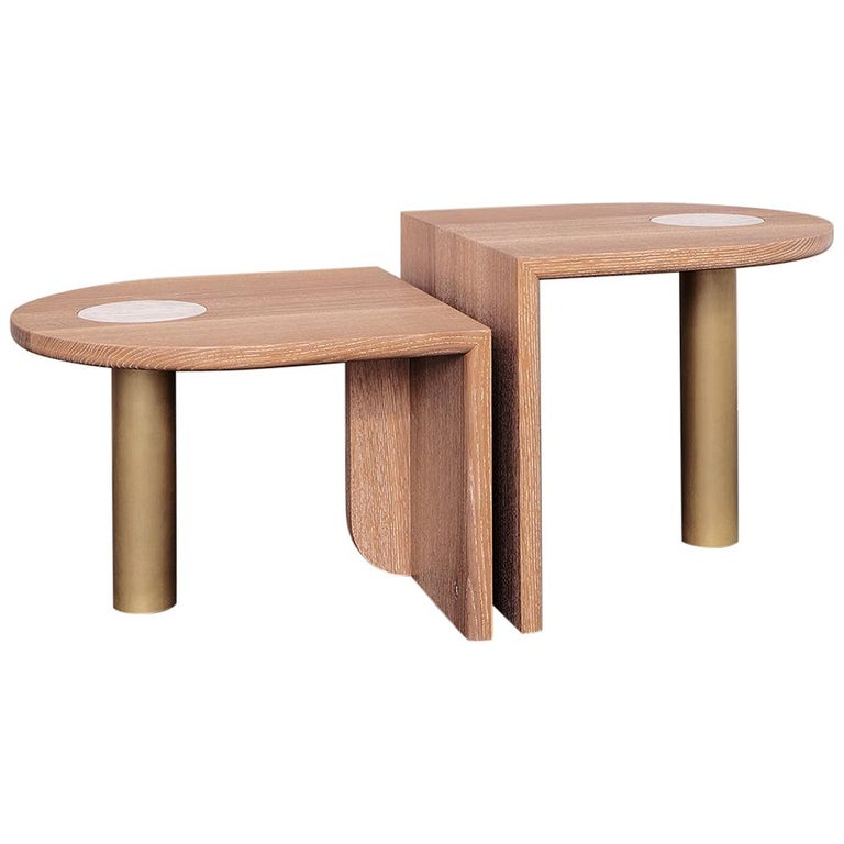 Pair of St. Charles Occasional Tables, Offset Heights, by VOLK -- ON SALE!! For Sale