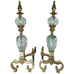 Pair of St. Clair Crystal Ball and Brass Andirons