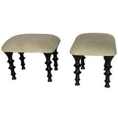 Pair of St Paul Stools, Tea Green, by Bourgeois Boheme Atelier