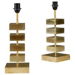 Pair of Stacked Brass 'Luigi' Table Lamps