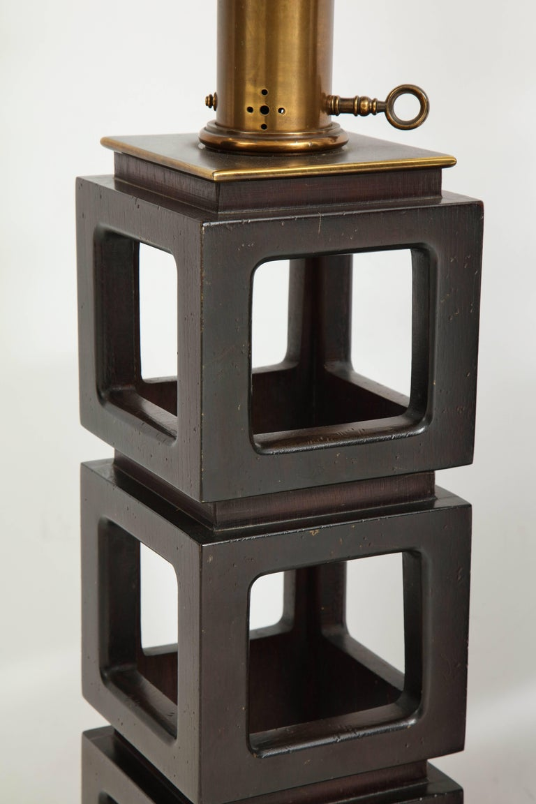 20th Century Pair of Stacked Cubes Lamps by Steiffel For Sale