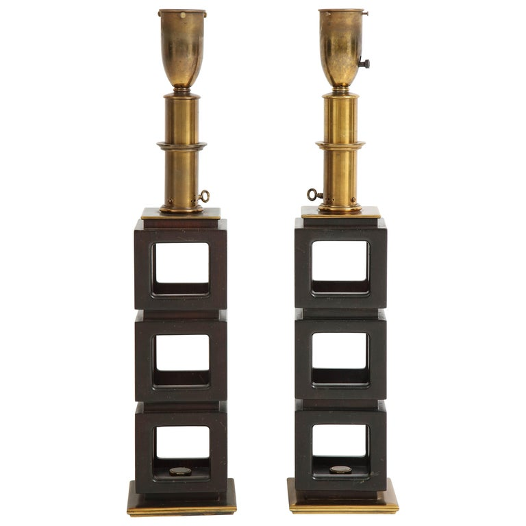 Pair of Stacked Cubes Lamps by Steiffel For Sale