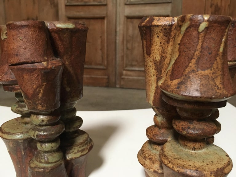 Hand-Crafted Pair of Stacked Stoneware Vases by Bernard Rooke For Sale