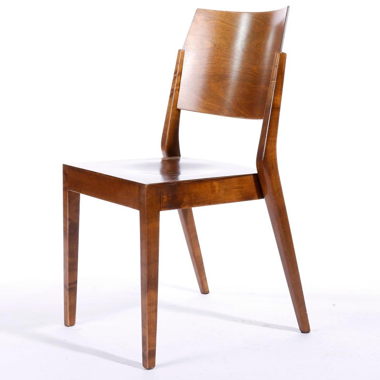 Austrian Pair of Stacking Chairs by Karl Schwanzer, Thonet, Austria, 1950s For Sale