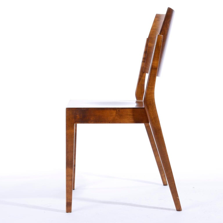 Stained Pair of Stacking Chairs by Karl Schwanzer, Thonet, Austria, 1950s For Sale