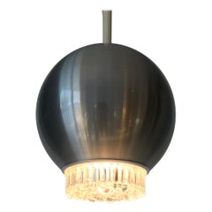 Pair of Staff Chrome and Bubble Glass Hanging Lamp, 1970s, Germany
