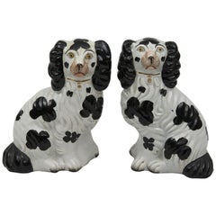 Pair of Staffordshire Black and White Dogs