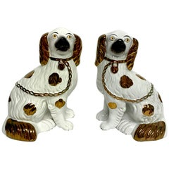 Pair of Staffordshire Copper Luster Dogs with Separated Legs, Taller