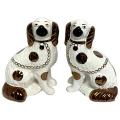 Pair of Staffordshire Copper Luster Dogs with Separated Legs, Wider