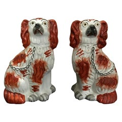 Pair of Staffordshire England Red Seated Spaniel Dogs