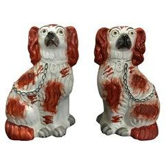 Paar von Staffordshire England Rote Sitzende Spaniel Hunde