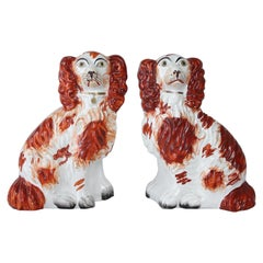 Pair of Staffordshire King Charles Dogs