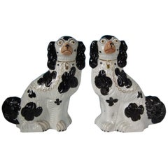 Pair of Staffordshire No.1 Black and White Spaniels